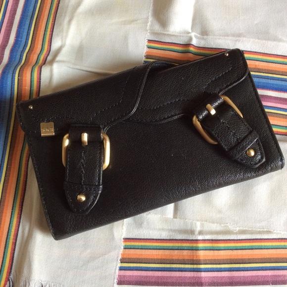 Bloomingdale's Handbags - S & S Black Leather Snap Buckle Wallet